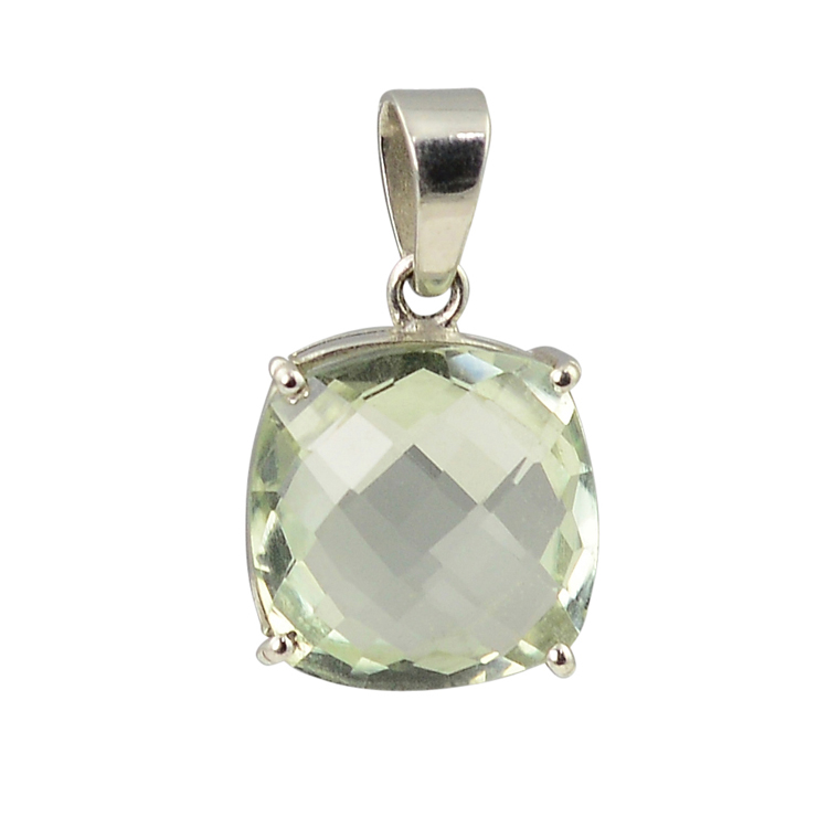 Faceted Green Amethyst Cuboid Pendant