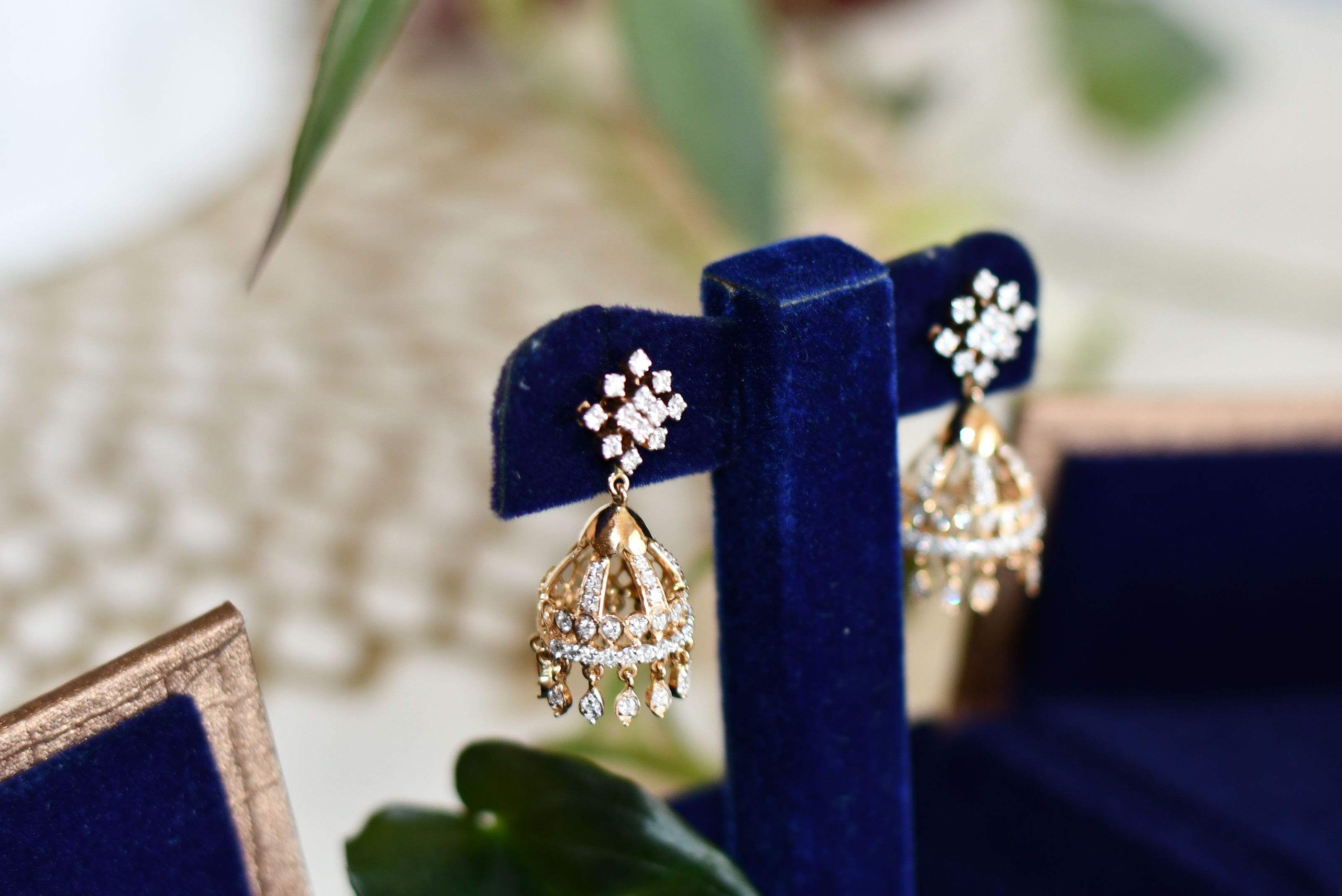 AYISHA AISHWARYA Original Design Diamond Studs With Diamond Jumki Earring
