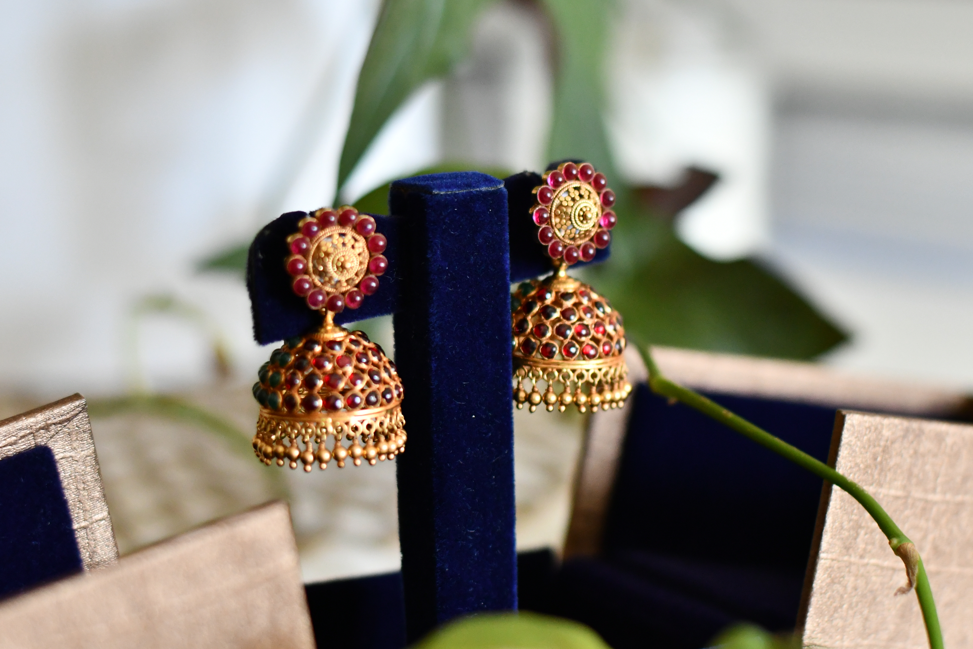 Ruby & Emerald South Indian Temple Earrings